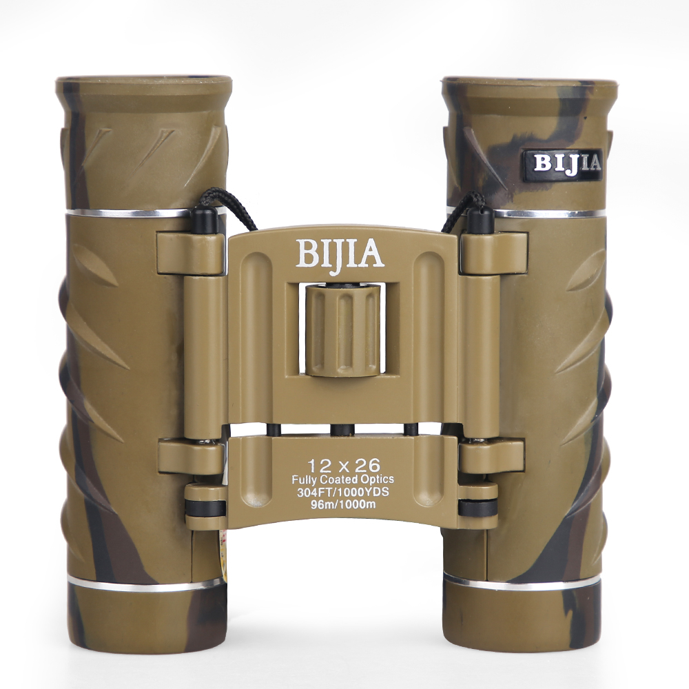 BIJIA 12X26 Compact Mini Binoculars with Carry Bag and Neck Strap HD Folding Binoculars for Bird Watching Hiking Camping Бинокль