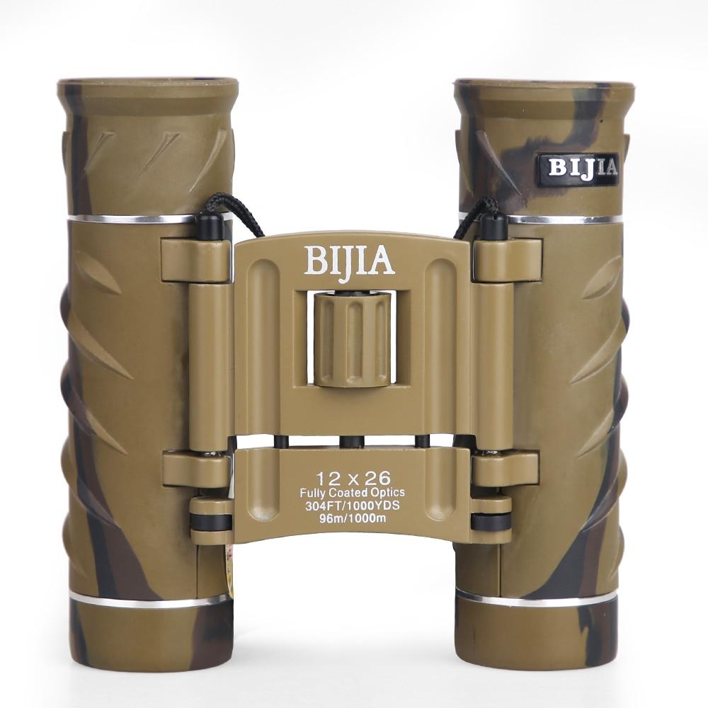 BIJIA 12X26 Kompakte Mini Fernglas mit Trage Tasche und Neck Strap HD Klapp Fernglas für Vogel Beobachten Wandern camping