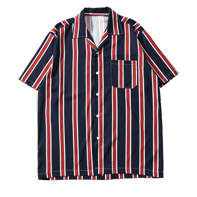 Zogaa 2019 Vertical Stripe Beach Men Shirt Streetwear Male Summer Hip Hop Pocket Short Sleeve Shirts Men Fashion Turn-Down Shirt