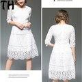 Весна 2017 новая Мода Выдалбливают Элегантный Белый black Lace dress Elegant Party Dress Высокое Качество Женщины Повседневные Платья FY077