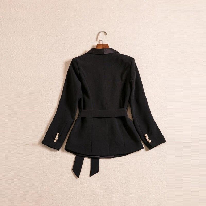 Lady Longues Femme Col Boutonnage Office Blazer Femmes Ceintures 2018 Mode Entaillé À Manteau Manches Veste Double Bqxz1Ofn