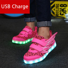 Glowing Luminous sneakers Children Boys and girls led Shoes USB rechargeable for Kids Led Lights Shoes 11 flash modes boys and girl led luminous sneakers casual shoes led shoes wings kids glowing sneakers led luminous shoes usb kids 506034