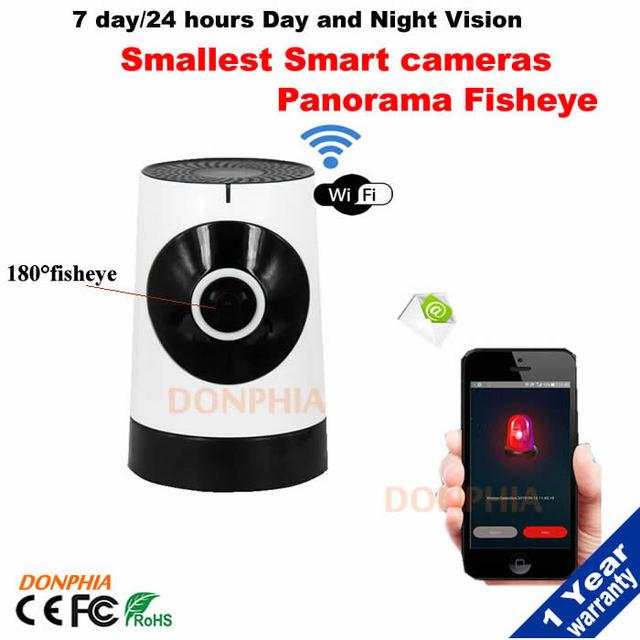 Graus da câmera panorâmica câmera de rede sem fio WI-FI 720 P HD ultra-grande angular olho de peixe câmera Ip Visão Nocturna do IR Slot Para Cartão TF