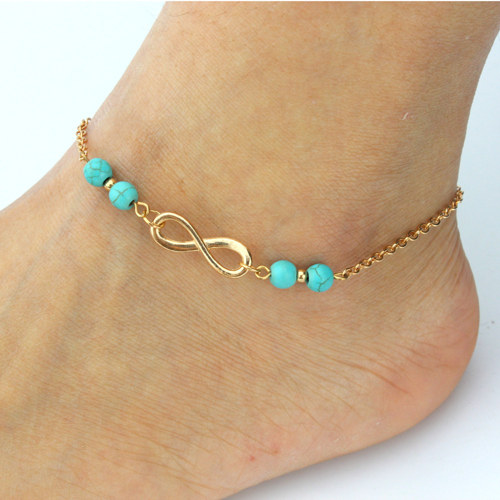 2016 New Summer Anklet Women Fashion Beads Infinity Ankle ...