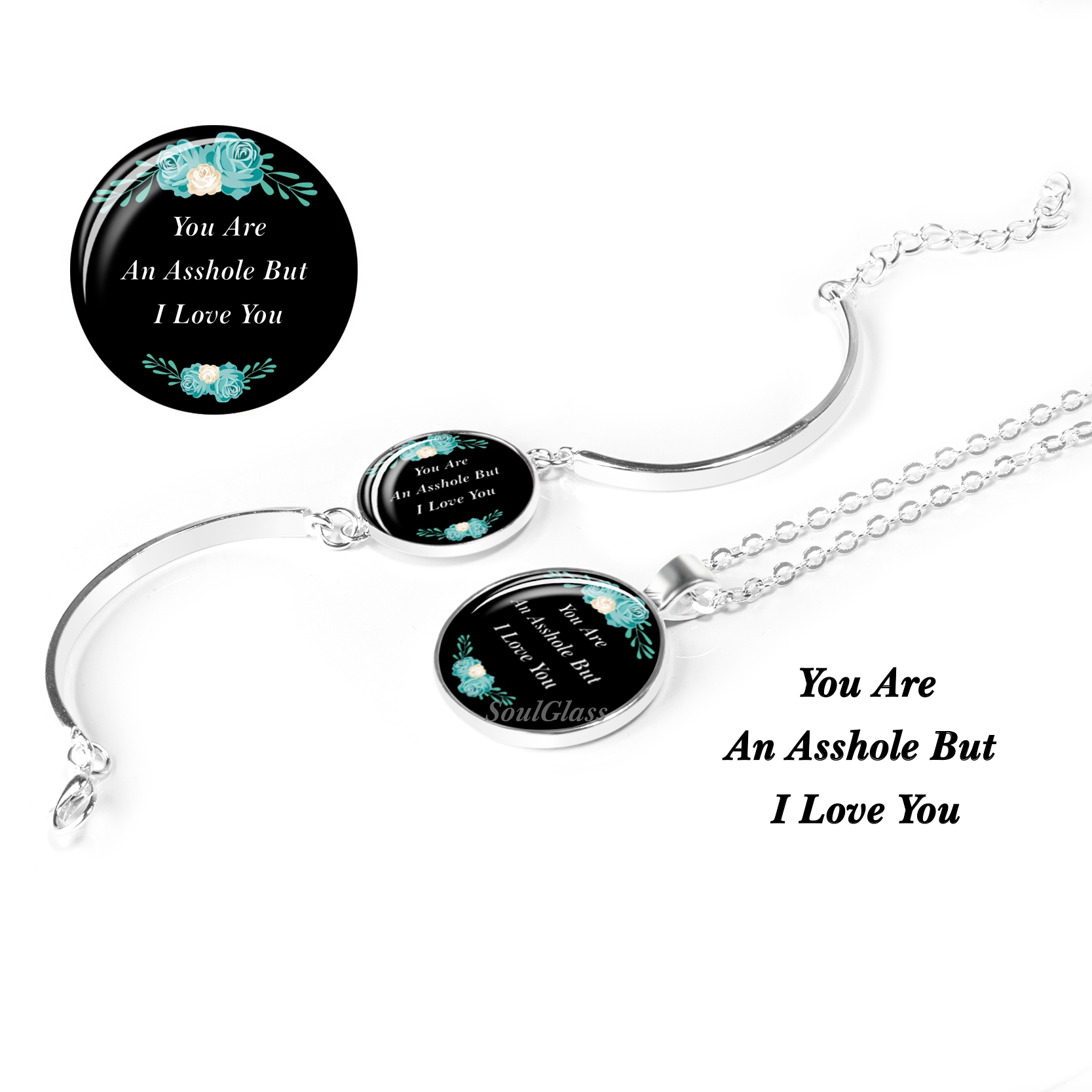 1 Set You Are An Asshole But I Love You Fashion Charm Letter Quote Jewelry Set(2pcs) Necklace and Bracelet Dorpshipping(China)