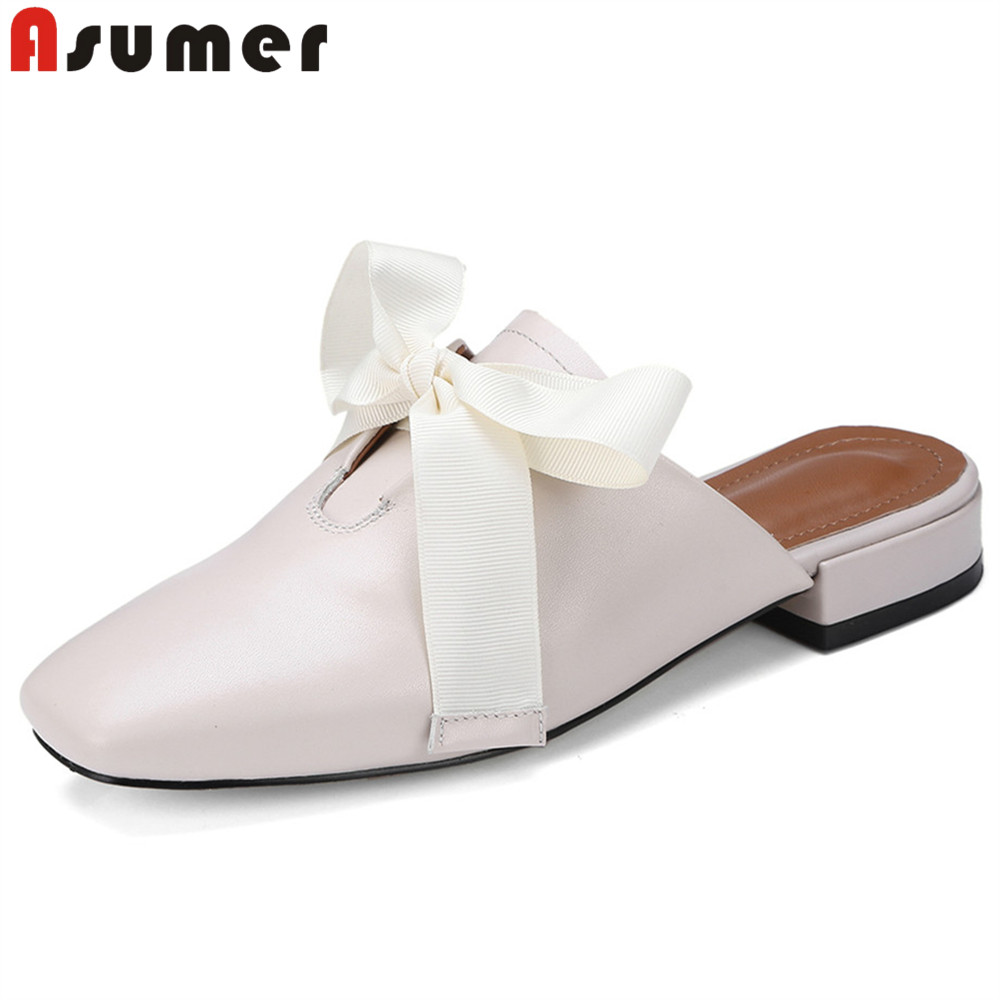 ASUMER Bowknot Sandals Mules Black Shoes Square Toe Leatrher Casual Fashion Women New