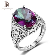 Bague Ringen Top Quality Rainbow Fire Mystic Topaz Rings Pure 925 Sterling Silver Jewelry Wdding Party Gift For Women Wholesale