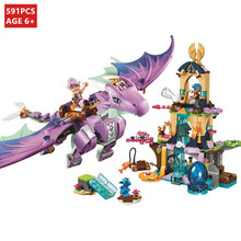 591Pcs Fairy Elves The Dragon Sanctuary Building Blocks Sets 41178 LegoINGs Bricks Educational Toys for Children Christmas Gifts 10549 bela elves the dragon sanctuary building bricks blocks kit educational toys compatible with lepine 41178 toys for girls