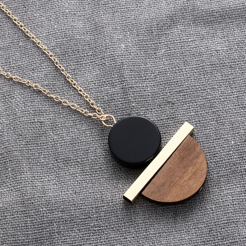 1 Pc New Geometric Circular Resin Wood Pendant Gold Chain Long Necklace Jewelry Free Shipping Ювелирное изделие