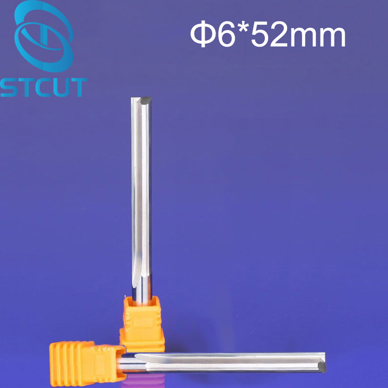 NEW 2pcs/lot 6*52MM Carbide Two/Double Flute Straight Slot Router Bit, CNC Carving Engraving Tools, Milling Cutter Free Shipping 16pcs 14 25mm carbide milling cutter router bit buddha ball woodworking tools wooden beads ball blade drills bit molding tool