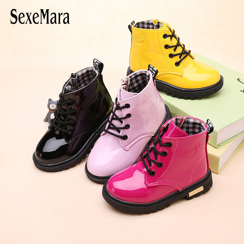 Spring Autumn Martin Boots For Girls Black/Red/Pink/Yellow Toddler Boy Boots Children's Kids Leather Shoes Waterproof A11171