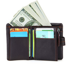 Leather fashion mens wallets business wallet first layer leather short zipper card holder