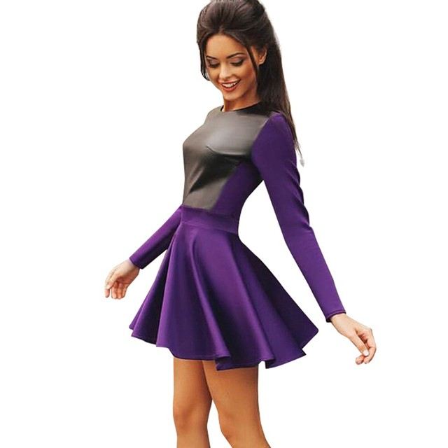 2640af0b0dae Women Synthetic Leather Splicing Mini Dress Long Sleeve Casual Slim Flared Skater  Dress