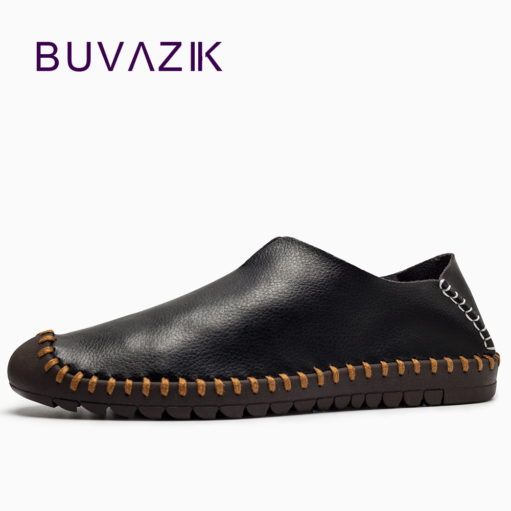 все цены на 2018 men's leather casual classic fashion blue black shoes high quality cowhide comfortable and breathable soft loafers онлайн