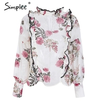 Simplee Vintage Floral Print Ruffle Blouse Shirt Women Long Sleeve Chiffon Blouse 2018 Boho Beach Summer