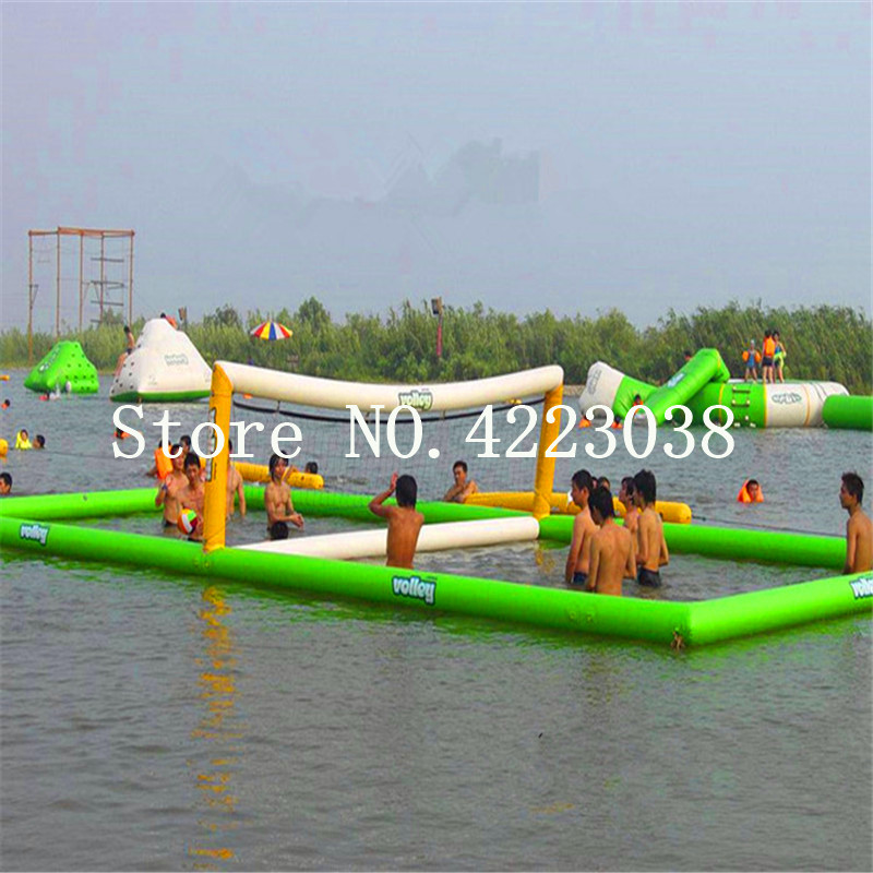 Free Shipping 12*6m Inflatable Water Sports Games Inflatable Volleyball Field Inflatable Beach Volleyball Court Free a Pump