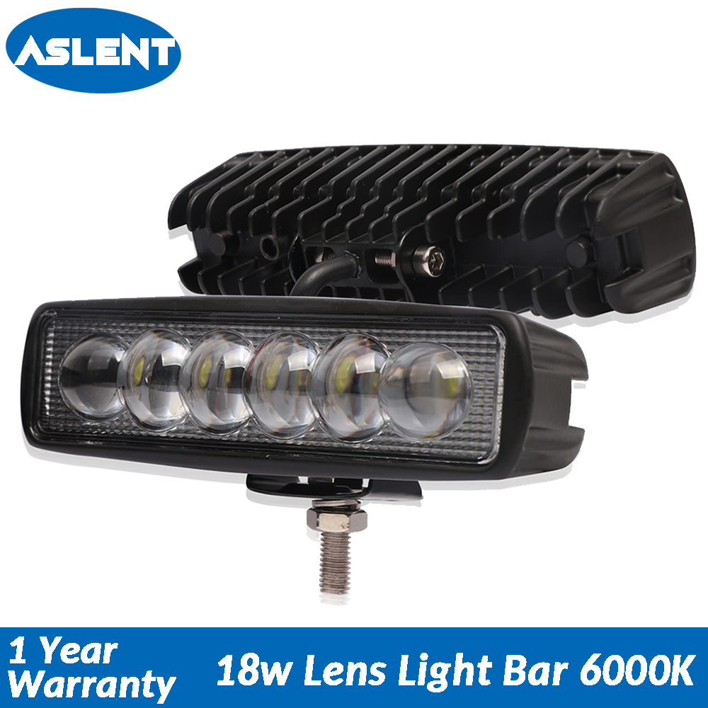 Aslent 6 inch 18W Lens LED Work Light Spot Beam Led Lamp Bar for ATV SUV Truck Boat Crane 4x4 Offroad UTV Tractor 6000K 12v 24v