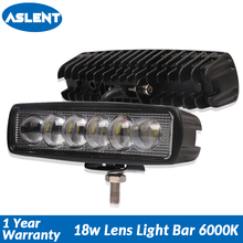 Aslent 6 inch 18W Lens LED Work Light Spot Beam Led Lamp Bar for ATV SUV Truck Boat Crane 4x4 Offroad UTV Tractor 6000K 12v 24v