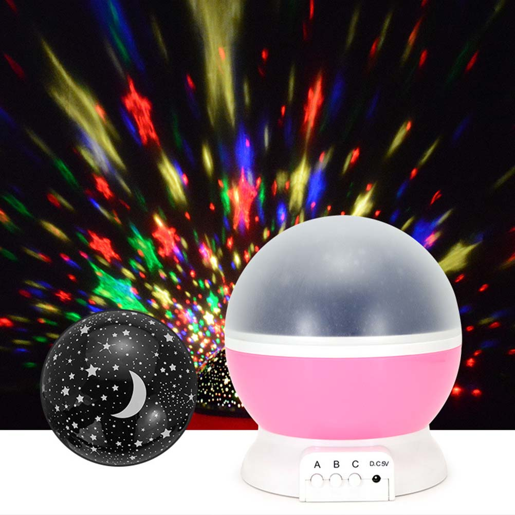 Star projector lamp night - 4 Led 360 Degree Romantic Room Rotating Cosmos Star Projector With Usb Cable Light Lamp Night