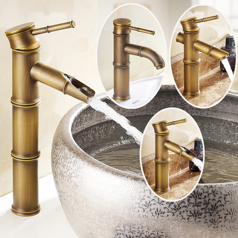 Solid Brass Antique Brass Bathroom Sink Faucet Single Handle Hot and Cold Water Waterfall Spout Mixer Tap solid brass single handle waterfall spout bathromm sink faucet countertop basin mixer tap antique brass