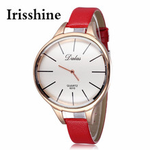 Irisshine C0458 lady Women's Fashion Luxury Golden Leather Analog Quartz Watch Red Women Watches