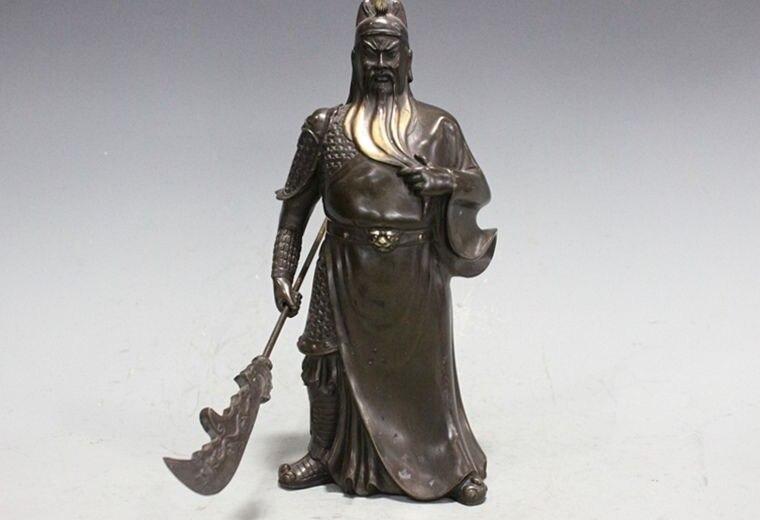 China Pure Bronze Copper Dragon Guan Gong Guan Yu Warrior Wu Sheng Mammon Statue