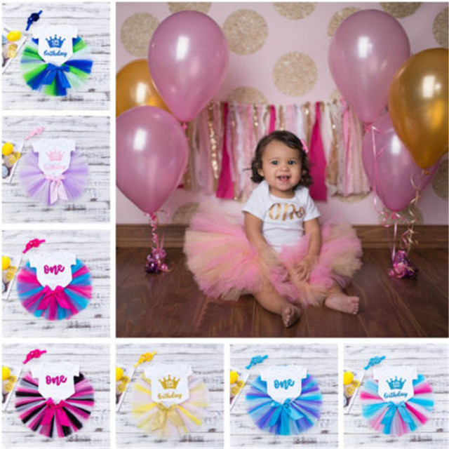 Fashion Girls 1st Birthday Party Sets Baby Tutu Cake Smash Outfits Christmas Gift Toddler