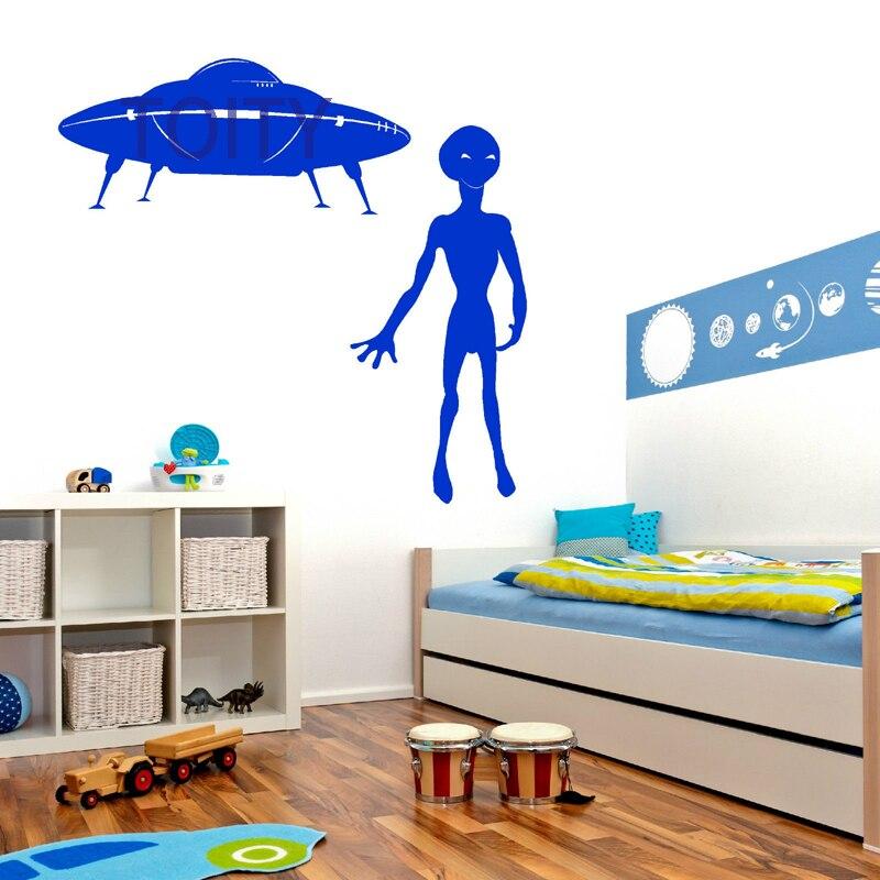 UFO AND ALIEN SPACESHIP SPACECRAFT OUTER SPACE Wall Sticker Vinyl Decal Chidren Room Mural H118cm x W50cm + H57cm x W120cm