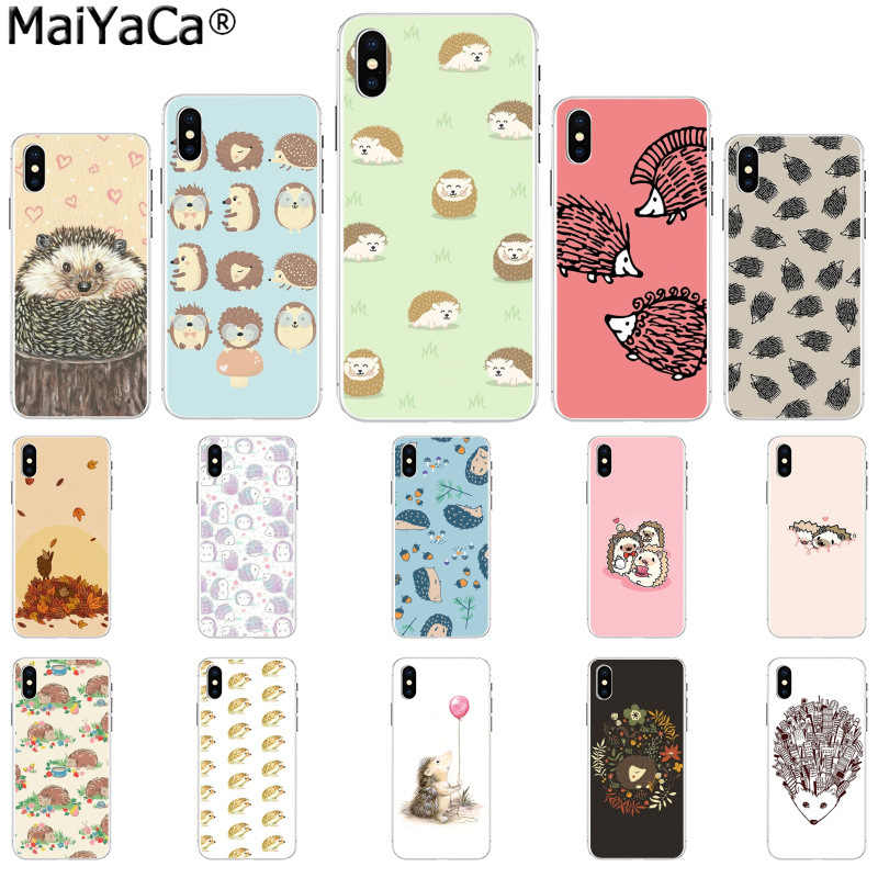 MaiYaCa Animal cute cartoon hedgehog painting Transparent TPU Soft Phone Cover for Apple iPhone8 7 6 6S Plus X XS MAX 5 5S SE XR