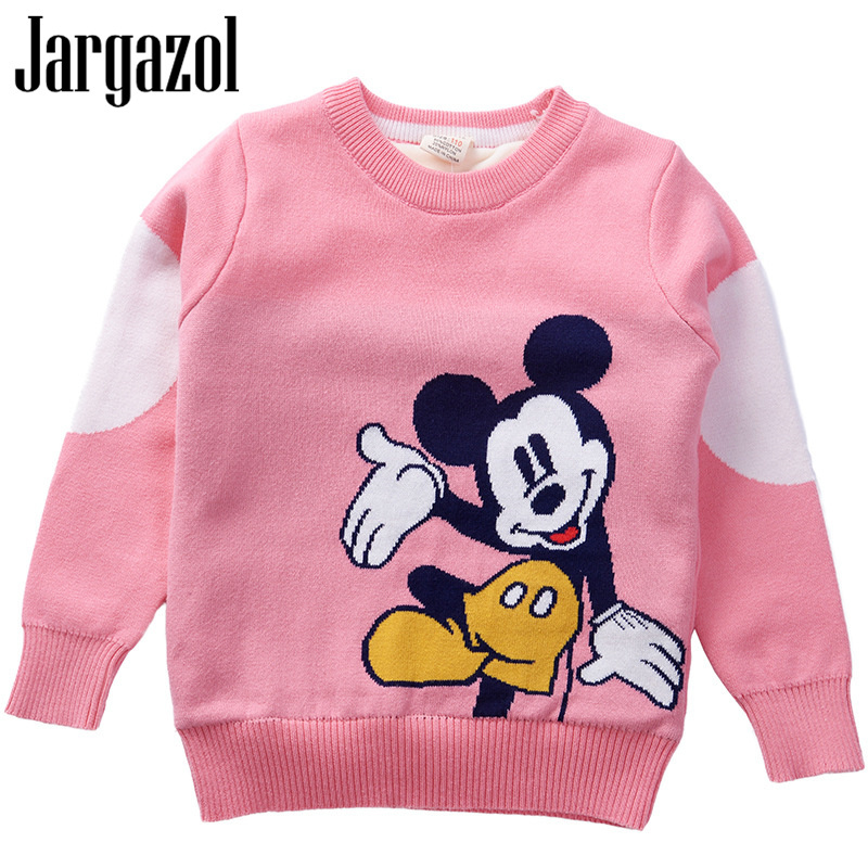 f7587feae Bebé niño suéter de niño de dibujos animados Mickey bordado Autumun de lana  de invierno doble cubierta engrosada niños Niña de punto suéteres Linda Tops