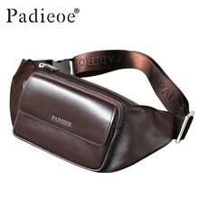Padieoe Genuine Leather Men's Waist Packs High Quality Real Cow Leather Casual Waist Bag Fashion Unisex Belt Bag Waist Pack