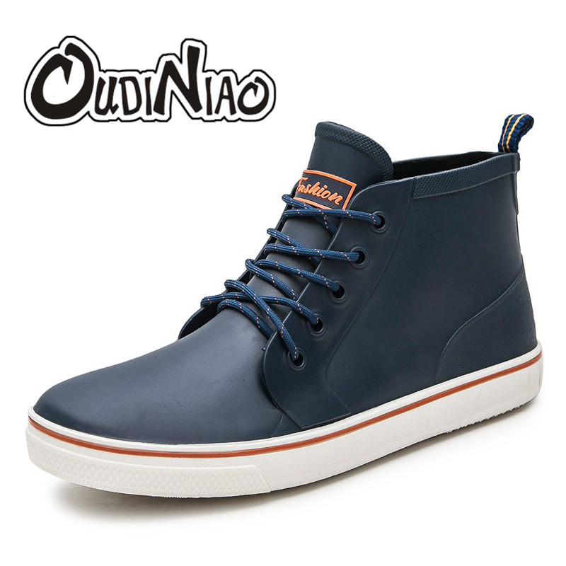 OUDINIAO Mens Rubber Rain Boots Fashion Boots Men Casual Lace Up Waterproof Ankle Boots PVC Shoes Round Toe Low Top Rainboots rain boots women pvc prince waterproof high heel water shoes tall rain boots ankle gummis rain boots female rubber toe rainboots