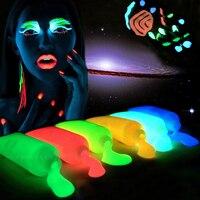 Nightclubs Face Paint Fluorescent Luminous Glowing Tattoo Halloween Night Run Equipment Akvagrim Body Paint Temporary Tattoo
