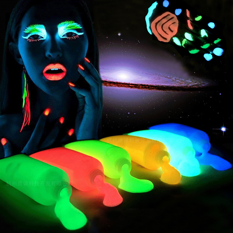 Nightclubs Face paint fluorescent luminous Glowing Paint Halloween night run equipment akvagrim Acrylic paint Temporary Tattoo angelus acrylic leather paint 4oz cognac