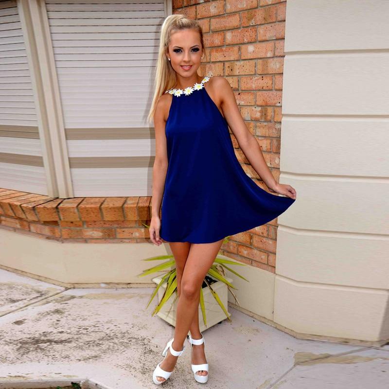 Vestido Corto Suelto Azul Vestidos Populares 2019