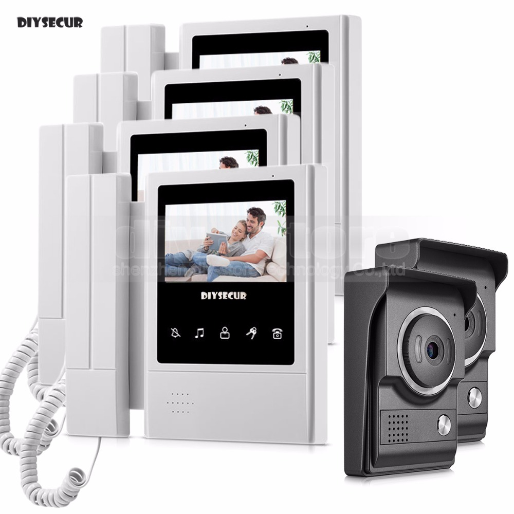 DIYSECUR 4.3inch Handheld/Handfree Video Intercom Video Door Phone Waterproof 700TV Line IR Night Vision HD Camera 2V4