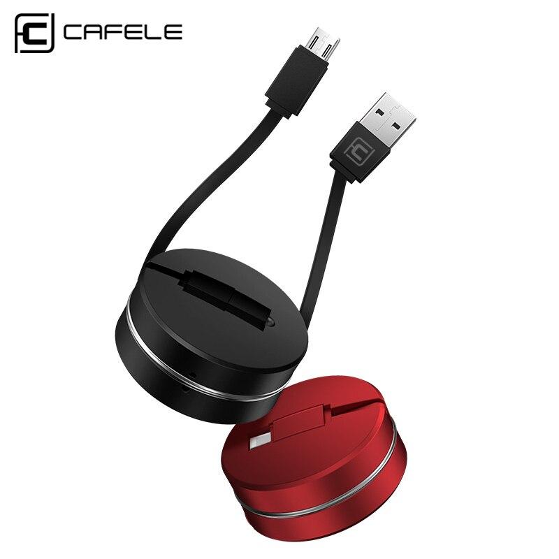 Caja protectora CAFELE 1 M retráctil Mini Cable Micro USB para Samsung lindo de carga rápida Cable de datos USB para Xiaomi Huawei Android teléfono Móvil