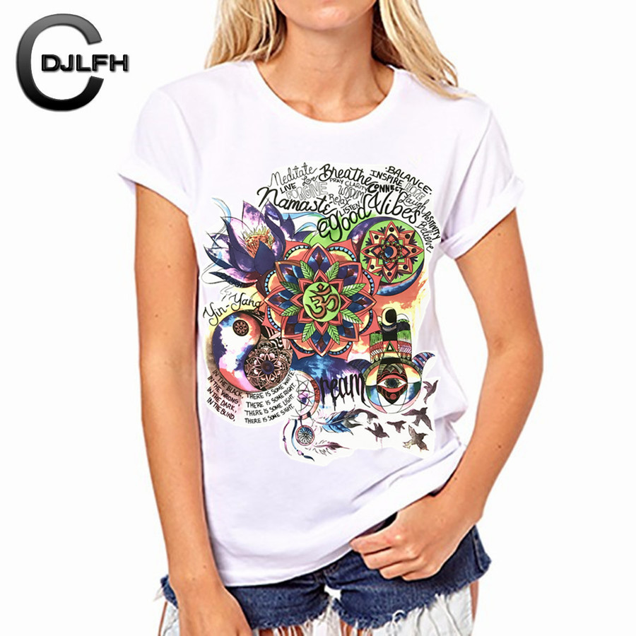 CDJLFH 2017 Summer Newest Women Shirt Chiffon Tshirt White Round Neck Short Sleeve Shirt Harajuku Print T-shirt Tops Femininas