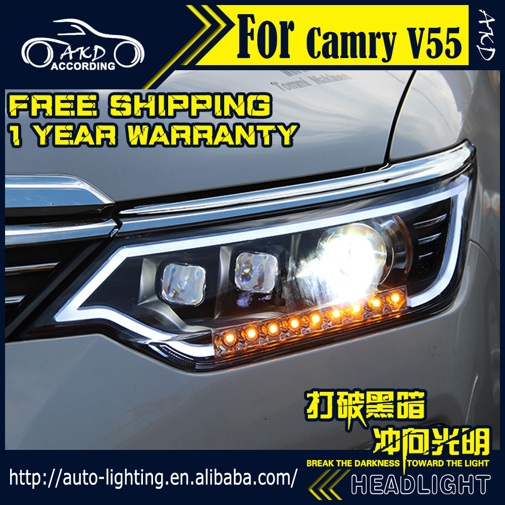AKD Car Styling Headlight Assembly for Toyota Camry V55 LED Headlight 2015 Camry DRL H7 D2H Hid Option Angel Eye Bi Xenon Beam universal pu leather car seat covers for toyota corolla camry rav4 auris prius yalis avensis suv auto accessories car sticks