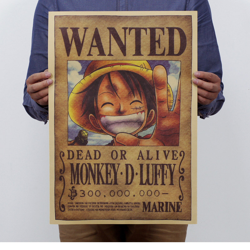 Home Decor wall stickers Vintage Paper Retro anime poster - Luffy wanted 51x35cm One Piece Posters/kid cudi poster/Vin