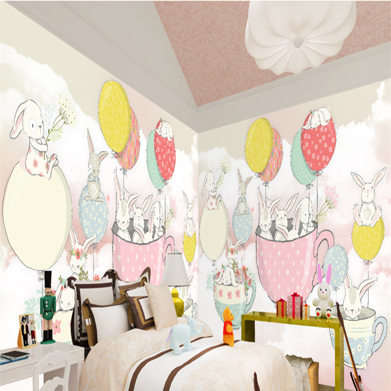 3D Wall Paper Mural with any Size Hand Painted Balloon Lovely Cartoon Bedroom 3D Mural WallPapers For Children Non-Woven Mural multicolor children room wall paper roll non woven vertical strip wallpapers for baby boy girls bedroom wall mural pink blue