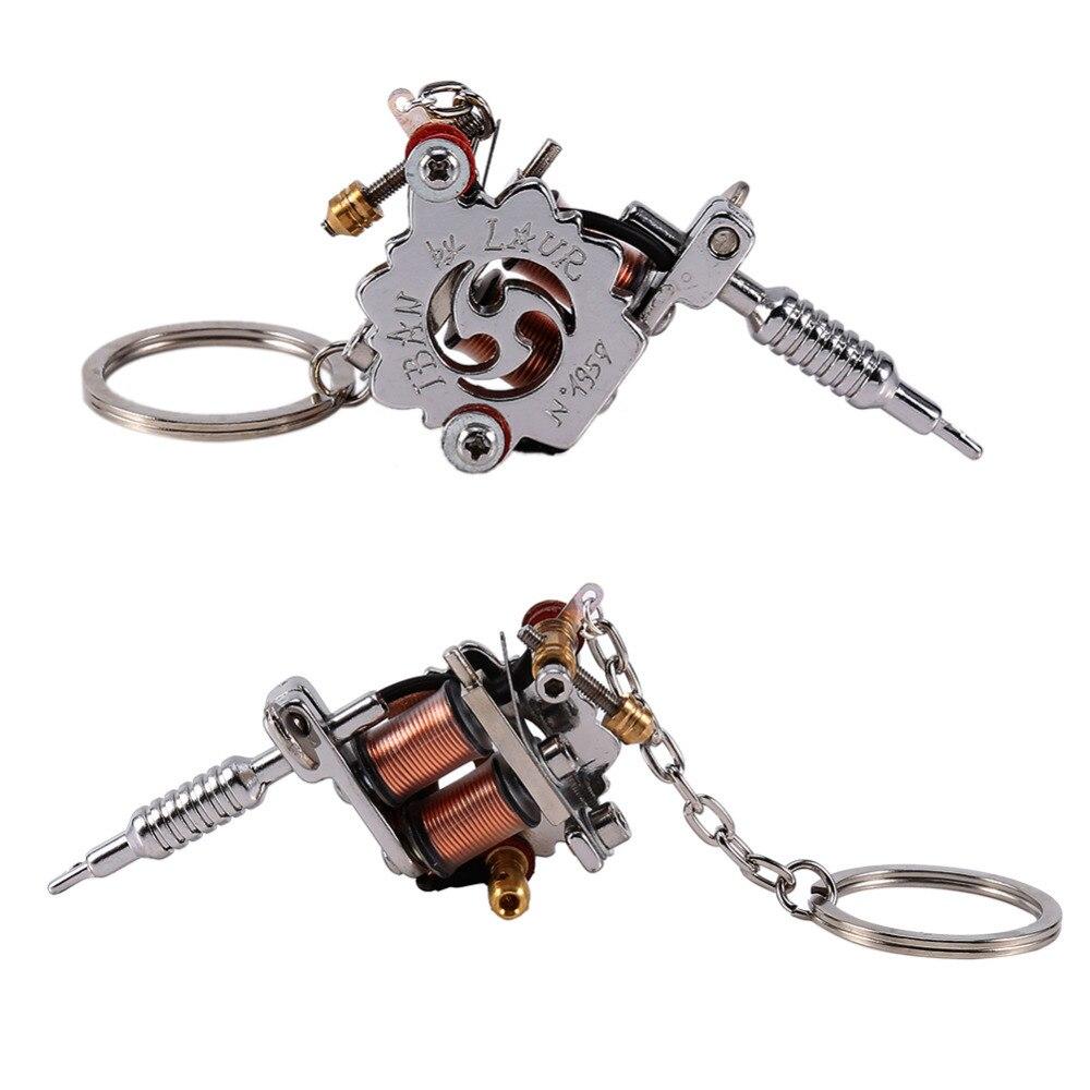 1 PC Portable Mini Tattoo Machine Keychain Tattoo Tools Punk Style Key Holder As Pendant Ornament For Men & Women Gift Crafts(China)