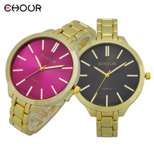 Ehour gold plated female ladies quartz watch fashion casual bracelet watch for women