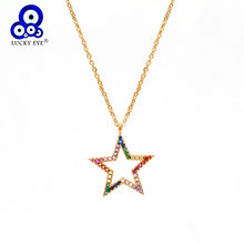 Lucky eye Micro Pave Star Pendant Necklace Gold Color Chain Multi Color Zircon Charm Necklace Jewelry for Women Female EY6366(China)