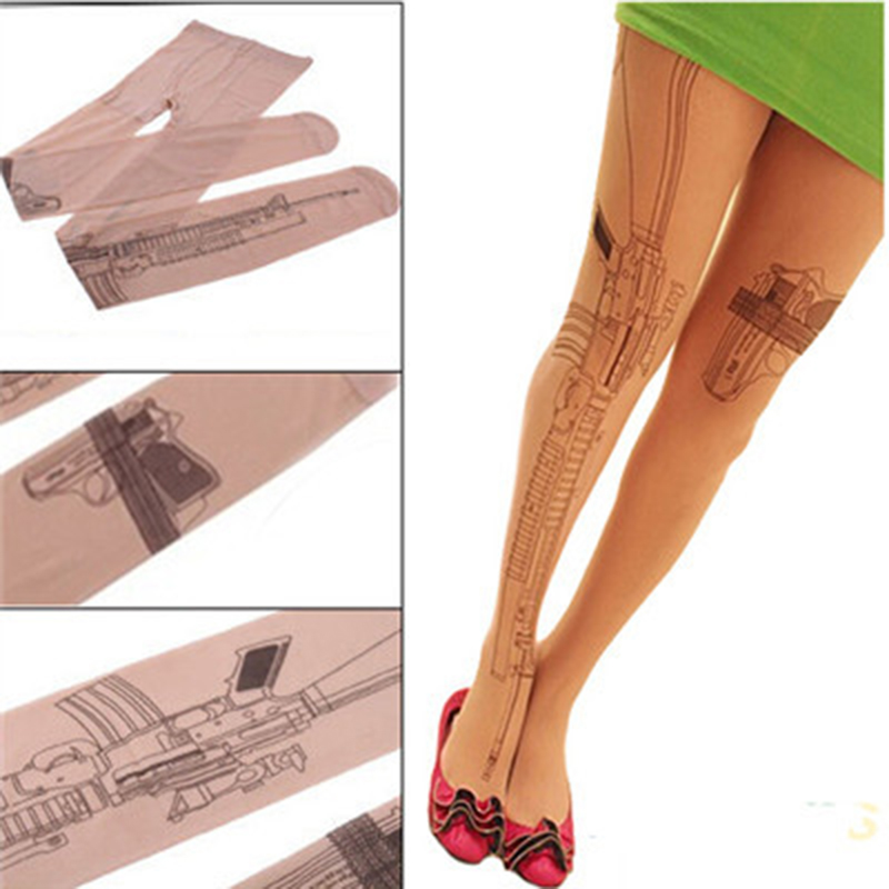 New Sexy Machine Gun Tattoo Transparent Tights Stockings Pantyhose Women Clothing Accessory Free Shipping