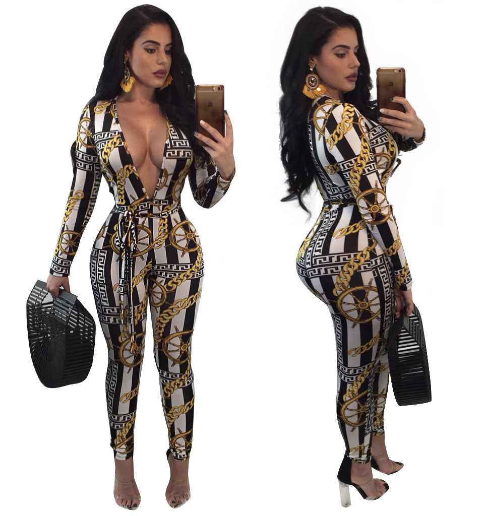 Plus Size Deep V Neck Club Bodycon Jumpsuit Women Autumn Long Sleeve Gold Chain Print One Piece Rompers Belted Outfit Jumpsuits