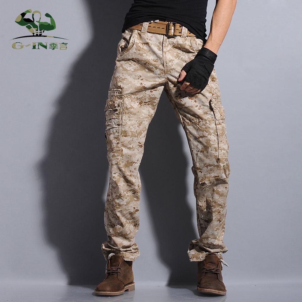 במדבר הסוואה מכנסיים סרבל מכנסיים - בגדי גברים