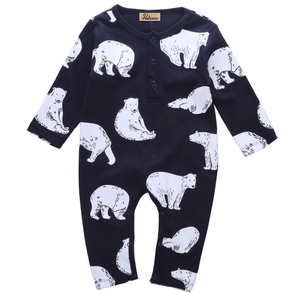 Newborn Infant Spring Winter  Kids Baby Boy Girls Bear Romper Jumpsuit Cotton O Neck  Clothes Outfit newborn baby backless floral jumpsuit infant girls romper sleeveless outfit