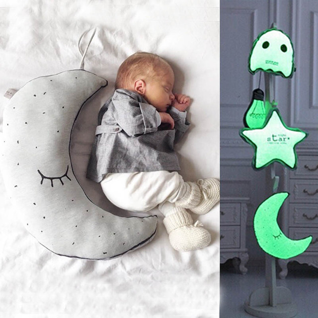 Almofadas para o Quarto Do Bebê Travesseiro Calma Quarto Ninho Almofada Lua Noite Luminosa Travesseiro Criança Room Decor Fotografia Adereços D05X34