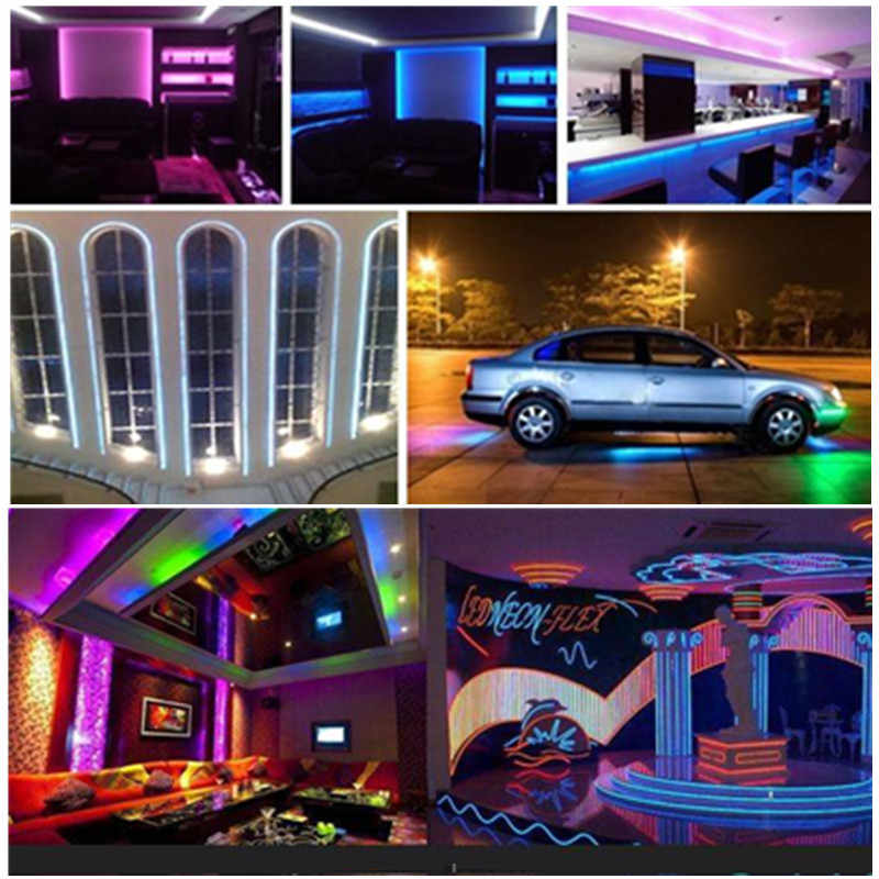 5 M Secara Individual Addressable RGB LED Strip Lampu Neon 2835 Pita LED Fleksibel Pita Auto Adaptor 12 V DC Konektor untuk Kitche